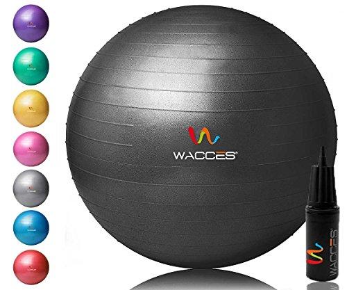 Wacces Yoga Ball with Hand Pump (Black, 75 cm)