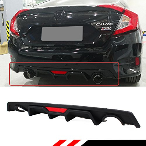 - Fits for 2016-2018 Honda Civic 4dr Sedan JDM Rear Bumper Dual Exhaust Diffuser With Red LED 3rd Brake Light