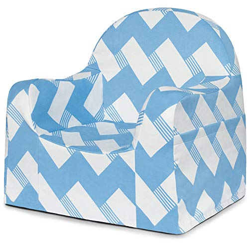 P'Kolino Little Reader Chair in Blue Zigzags - Comfy Foam, Supple Fabric, Arm Rests and Book -