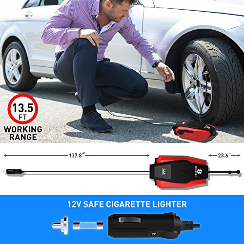 Helteko Portable Air Compressor Pump 150PSI 12V - Digital Tire Inflator - Auto Tire Pump with Emergency Led Lighting and Long Cable for Car - Bicycle - Motorcycle - Basketball and others by Helteko (Image #2)