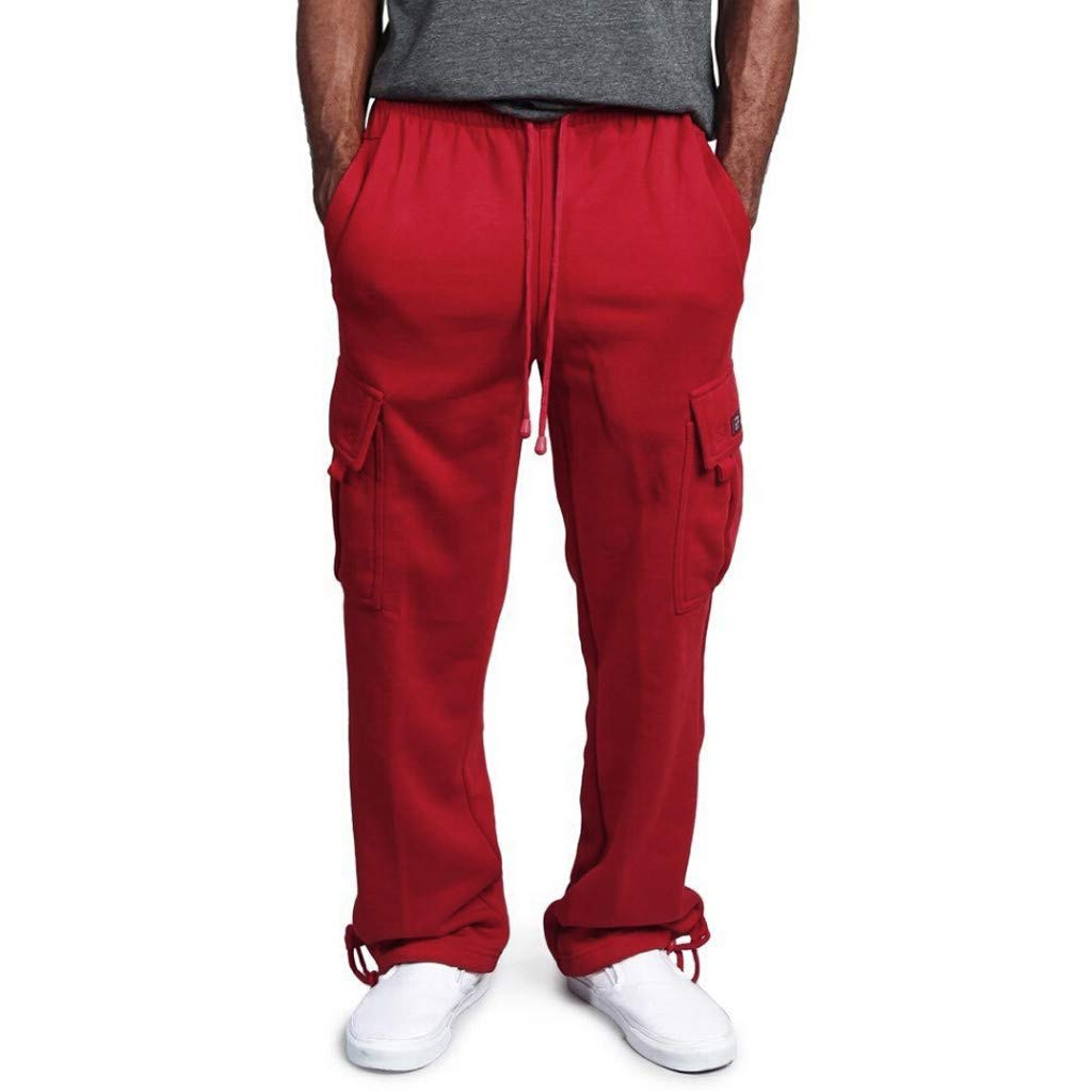 WUAI Sweatpants for Men, Casual Outdoors Slim Fit Joggers Running Sportwear Athletic Pants Trousers(Red,US Size S = Tag M)