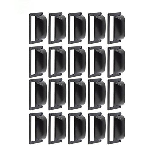 - Saim Iron Label Frame Card Holder Cup Pull Handle Drawer Box Case Cabinet Cupboard Carpenter Repair Decoration Hardware Black Pack of 20