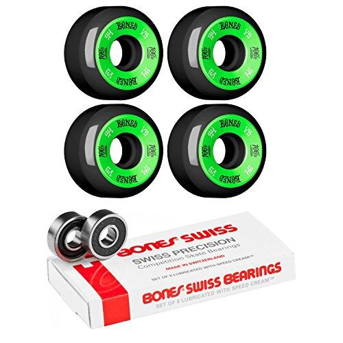 無駄だ銛トラフィック54 mm Bones Wheels 100 's # 10 Wheels With Bones Bearings – 8 mm Bones Swiss Bearings – 2アイテムのバンドル
