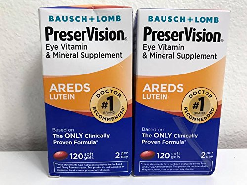 Bausch + Lomb PreserVision Eye AREDS Lutein Soft Gels 120 CT [2 BOXES] ()