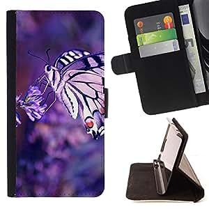 - Nature Butterfly Macrp - - Monedero PU titular de la tarjeta de cr????dito de cuero cubierta de la caja de la bolsa FOR HTC DESIRE 816 RetroCandy