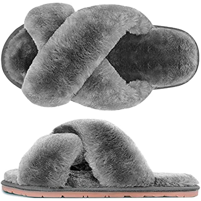 SIMIYA Womens House Fuzzy Slippers, Women's Cross Band Slippers, Soft Plush Cute Slippers, Furry Cozy Open Toe House Shoes for Indoor Outdoor