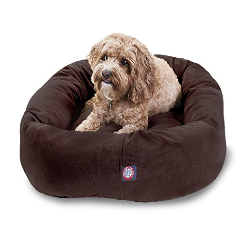 32 inch Chocolate Suede Bagel Dog Bed By Majestic Pet Products
