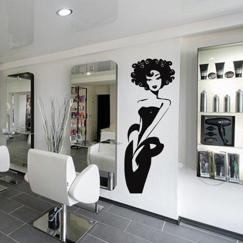 Wall Decal Vinyl Art Decor Sticker Design Stylist Master Hair Salon Beauty Fashion Poster Hairdryer Scissors Girl (M1061) (Blow Dryer Wall Decal)