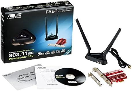 ASUS PCE-AC56 - Adaptador PCI Express AC1300 (Doble banda, 2T2R, base externa con antenas, disipador pasivo rojo)
