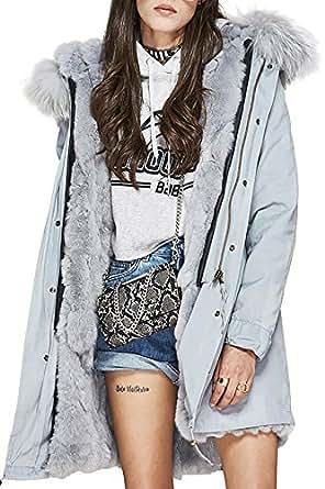S Romza Women Real Rabbit Fur Parka Upscale Long Hooded