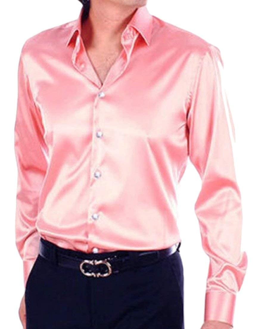 Alion Mens Regular Fit Long Sleeve Shiny Satin Dance Prom Shirt Tops