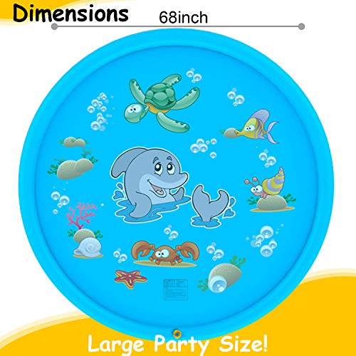 Tobeape Upgraded 68'' Sprinkle and Splash Play Mat, Inflatable Outdoor Sprinkler Pad Water Toys for Children Infants Toddlers Boys Girls and Kids by Tobeape (Image #4)
