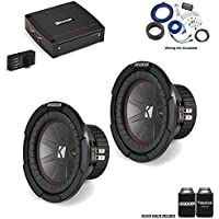 "Kicker 43CWR82 8"" CompR Subwoofers with 44KXA4001 KX-Series Amplifier and wire kit"