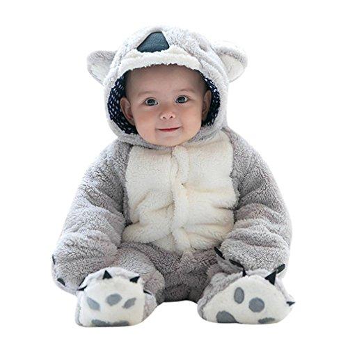 Ecurson Baby Koala Lamb Cartoon Animal Onesie Hooded Rompers Photo Props Costume (Grey, 0--6Months) -