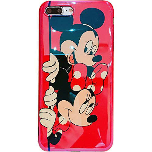 Smooth Soft TPU Red Mickey Minnie Mouse Case for iPhone 7+ 7Plus 8Plus Large Size 5.5