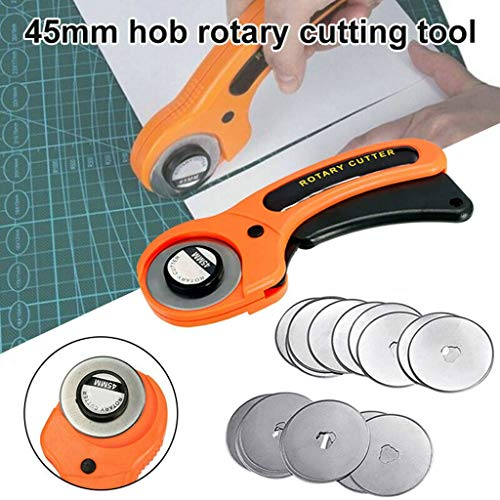 (Maikouhai 45mm Rotary Cutter Quilting Premium Sewing Quilting Fabric Cutting Craft Tool for Cutting Paper, Fabric, Leather, Plastic Stool - Plastic + Tungsten Steel Blade, Blade Diameter 1.77 Inch)
