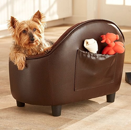 Dog Couch Bed Luxury Pet - Deluxe Button Tufted Comfort Leather in Brown - Elevated Sofa w Headboard Best for Small Dogs with Removable, Washable Cover Bundle w Rope Toy