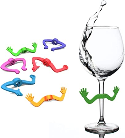 Set of 24//12 Wine Glass Marker Cute Villain Silicone Color Rings Identifier Gift