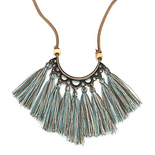 lace- Ladies Boho Long Tassel Rope Cluster Chain Handmade Jewelry Best for Gift (Blue) ()