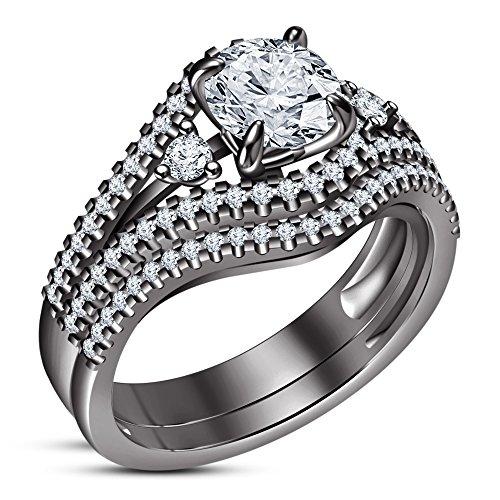 df9ce111927f Lilu Jewels - Juego de 2 anillos de compromiso para mujer