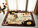 LELVA Cute Cartoon Bear Design Home Decoration Area Rugs Environmental Anti-slip Bedroom/Living Room Carpet Yoga Mat Baby Crawling Mats Kids Play Mat Machine Washable Rugs (130CM by 185CM)