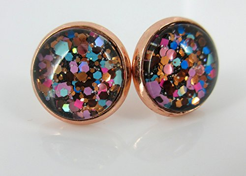 Rose Gold-tone Blue Pink Purple Glitter Glass Stud Earrings 12mm Hand-painted