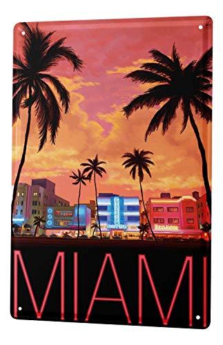 Fast Eletina Tin Sign Metal Plate Decorative Sign Home Decor Plaques City Miami]()