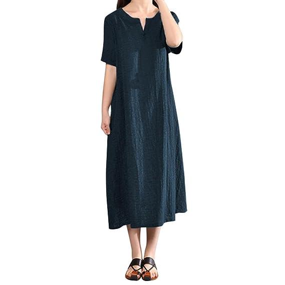JYC Verano Falda Larga, Vestido De La Camiseta Encaje, Vestido Elegante Casual, Vestido Fiesta Mujer Largo Boda, Mujer Más Tamaño Bohemia Sólido Cuello en V ...