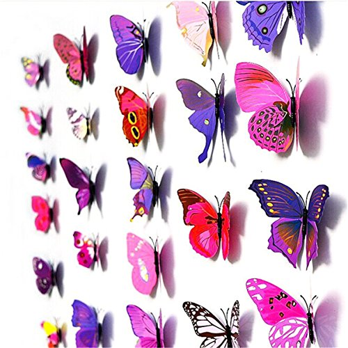 12Pcs Art Decal Home Decor Room Wall Stickers 3D Butterfly Stickers Decorations - 5