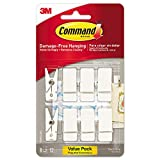 Command Spring Hook, 3/4w x 5/8d x 1 1/2h, White, 8