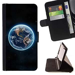 Momo Phone Case / Flip Funda de Cuero Case Cover - Tierra azul del planeta Continentes Ver espacio - HTC DESIRE 816