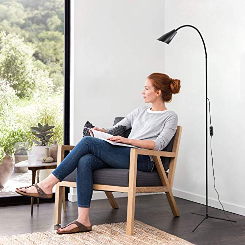 - Reading Floor Lamp in Black, Dimmable Gooseneck Standing Lamp, LED Floor Lamp for living rooms,bedrooms and offices