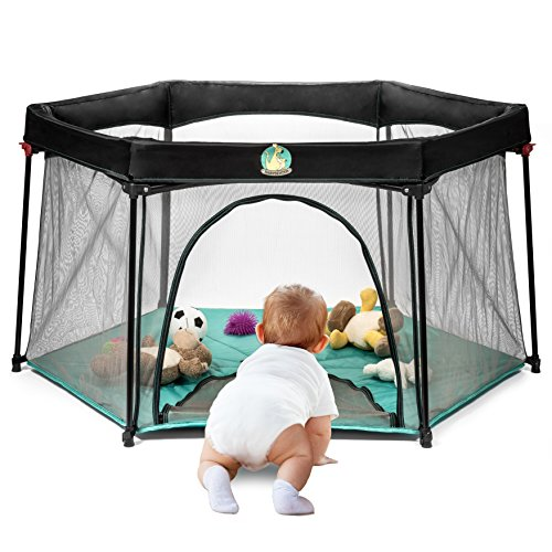 Pack and Play Portable Playard Play Pen for Infants and Babies - Lightweight Mesh Baby Playpen with Carrying Case - Easily Opens with 1 Hand by BabySeater ()