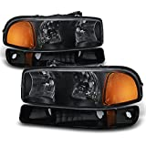 aftermarket headlight assembly - Black Bezel 99-06 Sierra 00-06 Yukon Headlights Replacement + Bumper Signal Light Lamps 4pcs Set