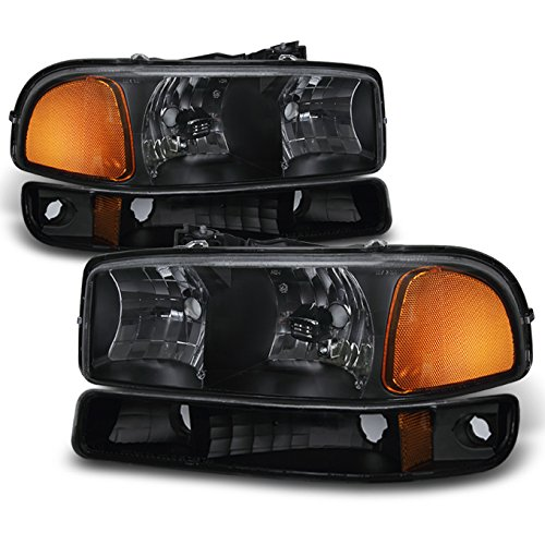For Black Bezel 99-06 Sierra 00-06 Yukon Headlights Replacement + Bumper Signal Light Lamps 4pcs Set (Gmc Headlight Bezel)