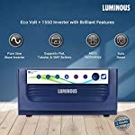Luminous Eco Volt+ 1550 Pure Sine Wave Inverter with Red Charge RC 25000 200 Ah Tall Tubular Battery for Home, Office…
