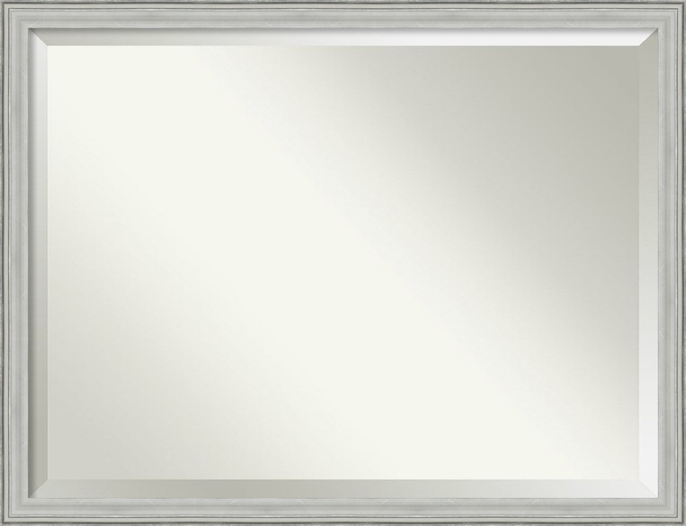 Framed Vanity Mirror | Bathroom Mirrors for Wall | Bel Volto Silver Mirror Frame | Solid Wood Mirror | X-Large Mirror | 33.00 x 43.00''