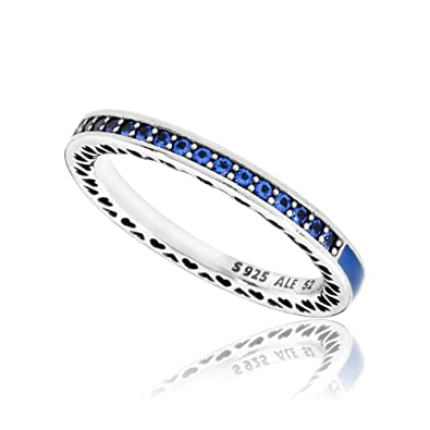 6c235bf7d Amazon.com: Pandora Women's Blue Radiant Hearts of Ring, Size 50 ...