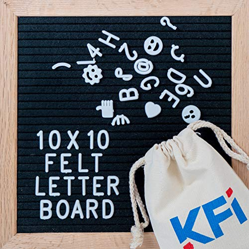 Mount Frame Wall Oak - Changeable Letter Board with Wooden Easel - Felt Letter Board 10x10 340 Letters/Numbers/Characters/Emojis/Wall-Mount, Rustic Oak Frame, Drawstring Letter Pouch, Great Substitute for White Boards