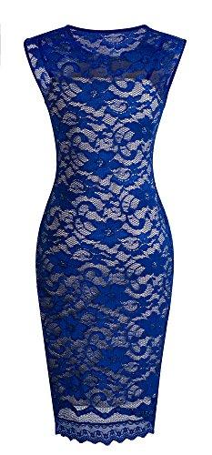 HOMEYEE - Vestido - ajustado - Sin mangas - para mujer Azul