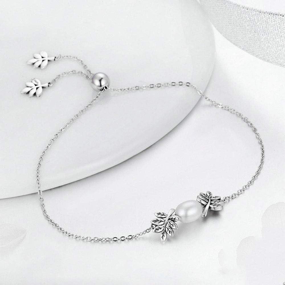 AK Personalidad Pulsera de perlas de plata esterlina 925 para mujeres con circón 3A Pulsera de perlas naturales de agua dulce Joyas de regalo de cumpleaños para hija/esposa/madre