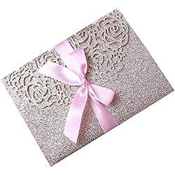 PONATIA 20 PCS 3 Folds 5x7'' Navy Blue Wedding Invitations Cards With Ribbons For Wedding Bridal Shower Engagement Birthday Graduation Invitations Cards (Gold Glitter)