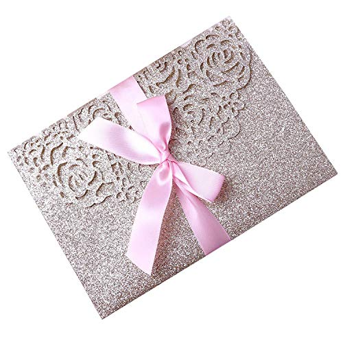 PONATIA 20 PCS 3 Folds 5x7'' Wedding Invitations Cards with Pink Ribbons for Wedding Bridal Shower Engagement Birthday Graduation Invitations Cards (Gold Glitter)