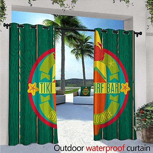 Tiki Bar Outdoor- Free Standing Outdoor Privacy Curtain Tiki Surf Bar Sun Lounge Holiday Vacation Theme Surfboard Crab Starfishes Print for Front Porch Covered Patio Gazebo Dock Beach Home W108 x L9 (Beach Cabana Lounge)