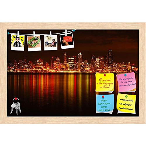 (Artzfolio Seattle Skyline Reflected in Water, Washington USA Printed Bulletin Board Notice Pin Board | Natural Brown Frame 23.7 X 16Inch)