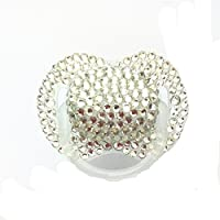 Dollbling Custom Unique Sparkle Silver Rhinestones Crystals Baby Pacifier,1PC