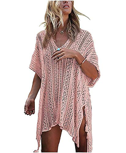 NFASHIONSO Women's Fashion Swimwear Crochet Tunic Cover Up/Beach Dres,Pink