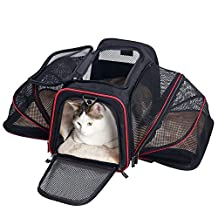 MangGou Pet Carrier for Dogs & Cats, Expandable Foldable Soft Animal Carriers, Airline Approved Portable Soft-Sided Pet Travel Bag Fit Under Seat or Top with Fleece Mat and Pockets (Black)