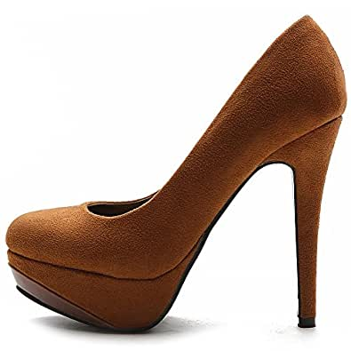 Ollio Women's Shoe Platform Faux Suede Classic High Heel Stiletto Multi Color Pump (5.5, Brown)