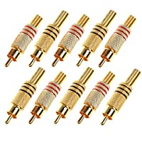 BCP Pack of 10pcs RCA Male Plug w/ Spring Adapter, Gold Plated